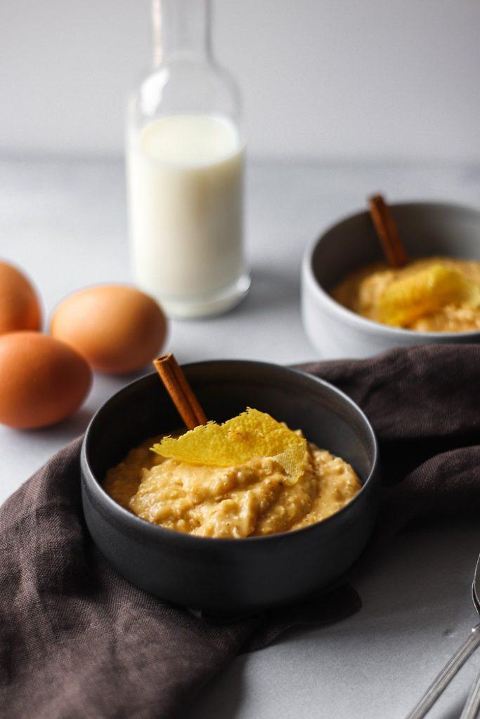 Receita de arroz doce fingido com aveia e canela
